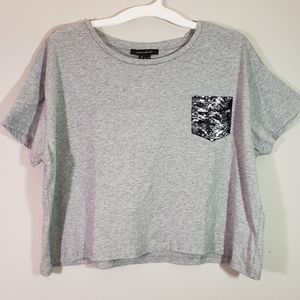 French Connection Cropped Snake Print Pocket Tee